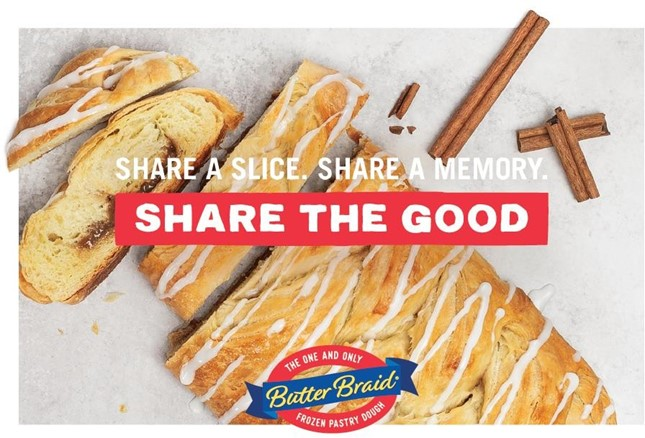 Butter Braid Cinnamon pastry with Share the Good and logo